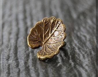 Sterling Silver and Brass European Style Lily Pad Charm, Handmade Slide Charm, Personalized Botanical Charm, Big Hole Bead, Slider Charm
