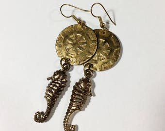Seahorse Earrings, Etched Brass Maritime Earrings, Free Domestic Shipping