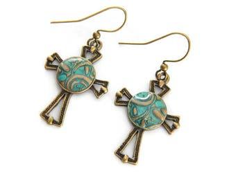 Cross Earrings - Christian Earrings - Antique Gold Earrings - Catholic jewelry - Christian Gift for Her - Religious Jewelry - Dangle Drop