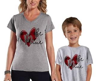 Be Mine Valentine Buffalo Plaid Heart Mommy and Me Shirts Set