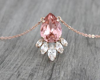 Rose gold Bridal necklace, Crystal Wedding necklace, Bridal jewelry, Blush crystal necklace, Swarovski necklace, Simple necklace, Bridesmaid