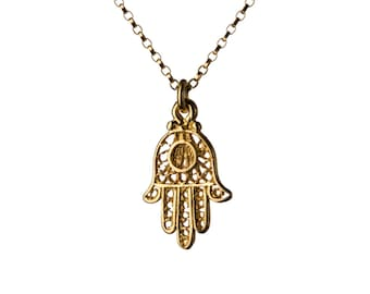 Hamsa Filigree Necklace Dainty Gold Filled Necklace Pendant Evil Eye Jewelry Free UK delivery + Gift Box + Gift Bag GP3