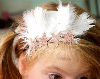 Free Spirit skinny elastic headband with feathers and 100% pure pink blush german glass glitter stars any size!