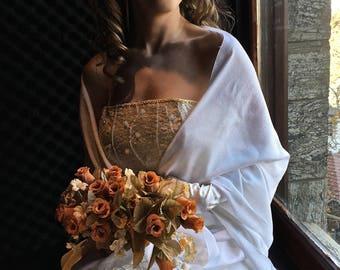 White Wedding Shawl, Snow White Bridal Shawl, White Pashmina, Bridesmaid Shawl,Fringed Bridal,Sheeny Scarf,Evening Wrap,Gift, Smart, Elegant