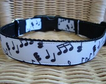 Musical Notes Large Dog Collar