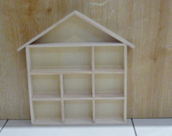 Wooden House Shape Display Unit Shadow Box for Dolls House Miniatures - Thimbles - Small Ornaments