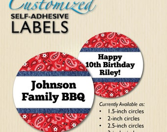 Country Western Stickers, Cowboy Party Decor, Patriotic BBQ Picnic, Birthday Favor Label, for Treat Bag, Candy Box, Cups, Jars, Customized
