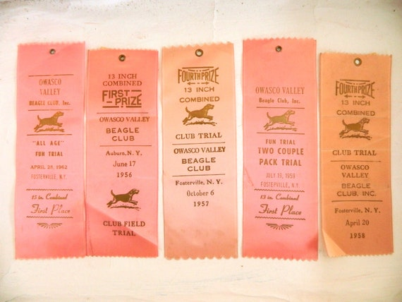 Five Vintage Pink Prize Ribbons from Owasco Valley Beagle Club 1950s