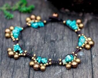 Turquoise Brass Bell Boho Anklet or Bracelet