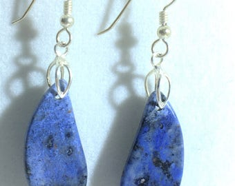 Dumortierite Drop and Dangle Earrings With Sterling Silver French Hook Ear Wires - All Natural - Free Form      E080