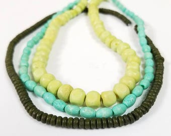 3 Strands of Bone Beads -  Aqua, Celery Green, Sage Green - oval rondelle (H9210)