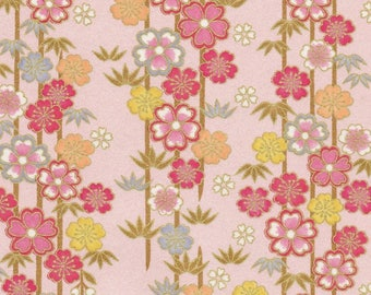 NEW - Chiyogami or yuzen paper - sakura and bamboo, pink, orange and platinum with gold accents on iridescent pink background, 9x12 inches