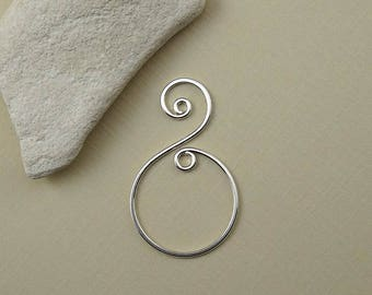 Spiral Pendant -  Sterling Silver Pendant - Fancy Necklace Pendant - Swirl Earring Component - DIY Jewelry Supply - Earring Spiral Drop
