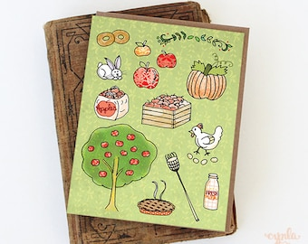 Apple Orchard Card - apple greeting card - apple card, apple picking, cider donuts, apple stationery, apple tree, pumpkin