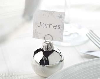 Silver Bauble Place Card Holders for Christmas Dinner or Winter Weddings