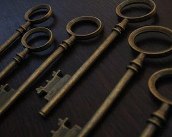 Rowling - Skeleton Keys - 4 x Antique Bronze Brass Skeleton Keys Vintage Style Large Key Set