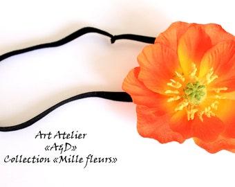 Headband/headband black elastic with a poppy flower orange