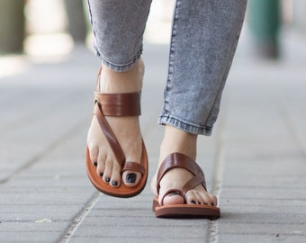 Brown Leather Sandals,Asymmetric Sandals, Summer Shoes, Brown Sandals, Flat Sandals , Free Shipping