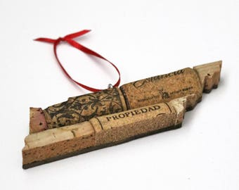 tennessee ornament - wine cork ornament - rustic christmas ornament - wine gifts - gift for wine lover - tennessee gift - hostess gift