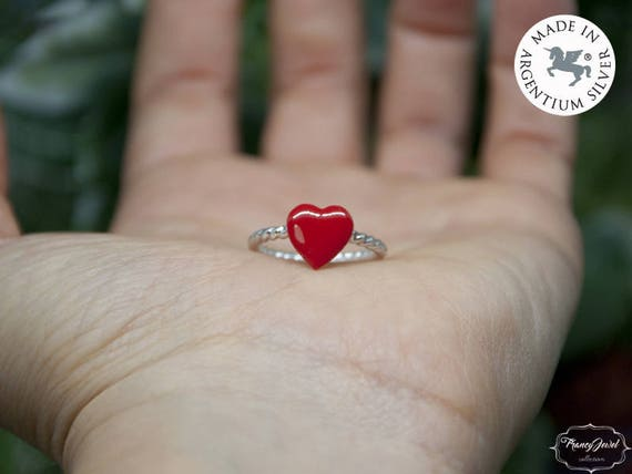 Valentine gift, Valentine's ring, heart ring, red enameled heart, Valentine's heart, Valentine's jewelry, gift for her, ethical jewelry