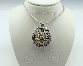 Pick A Pearl Cage Necklace Lion King Head King of the Jungle Silver Plated Locket Charm Necklace