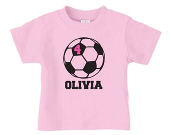 Personalized girl soccer t shirt, soccer birthday tee shirt for girls