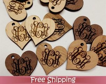 "50 Custom Wood Tags - 1"" Heart - Laser cut & Engraved (T-0013)"
