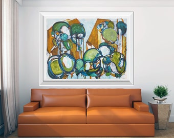 LARGE GICLÉE print, Abstract Print of Painting, Modern Art Print, Abstract Nature, Marine Blue Teal Orange, Abstract Print, Fine Art Print
