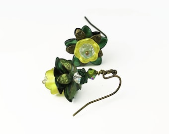 Olive & Lime Yellow Lucite Flower Vintage Style Earrings, Hand Painted