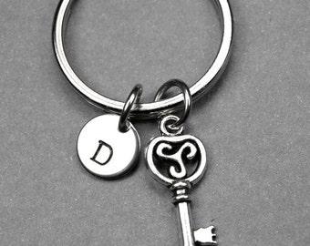 Key Keychain, Skeleton key Keychain, Initial keychain, Personalized Keychain, Husband Wife Gift, Girlfriend Boyfriend, Anniversary Gift