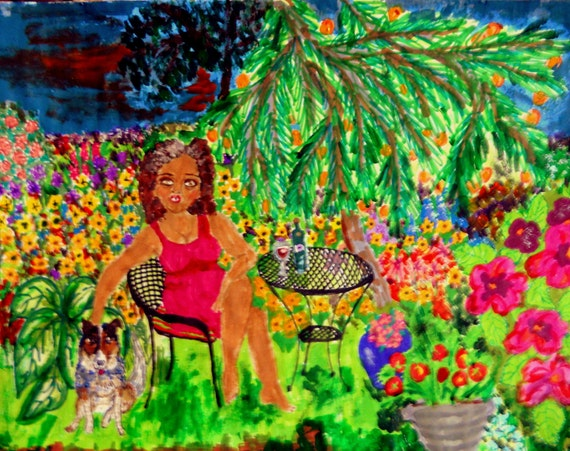"""Archival PRINT of Original Self Portrait, Painting, """"In The Garden With Rudy"""" 2nd Edition, by Hoosier Artist Stacey Torres"""