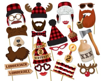 Lumberjack photo booth props. Second birthday baby shower props. Lumberjack party printables, Printable PDF, Party supplies - 0203