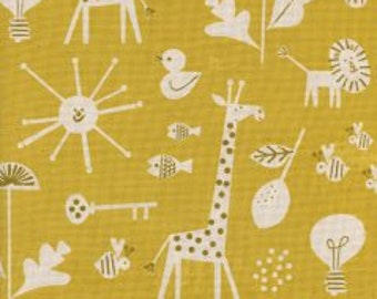 SPECTACLE Unbleached Cotton By Christian Robinson  for Cotton and Steel Fabrics Sunbeam Yellow