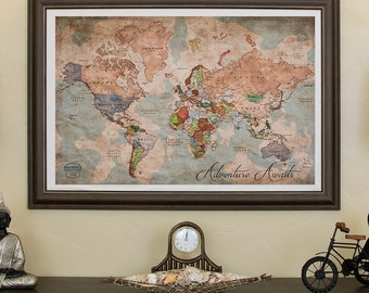 World map canvas etsy personalized world map world map canvas print push pin travel map vintage framed custom gumiabroncs Image collections