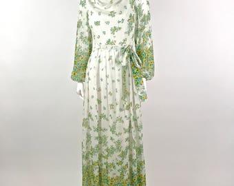 Vintage 70's Sheer Floral Dress