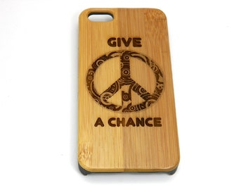 Give Peace a Chance iPhone 7 Plus Case. Bamboo Wood Cover Retro John Lennon Tribute Peace Sign Hippie Chic Peaceful Symbol Groovy