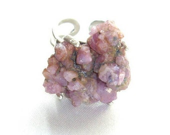 Ruby ring Crystal ring Raw stone ring Raw ruby ring Stone ring Pink ring Unique ring Raw crystal ring Sterling silver ring Mineral ring