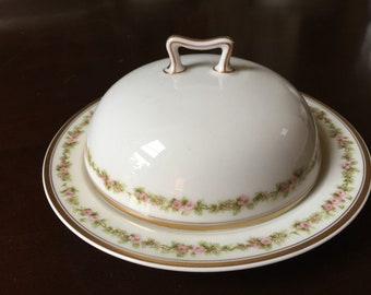 Haviland Limoges Round Butter Dish,  France,  Pink Floral China, 3 piece set