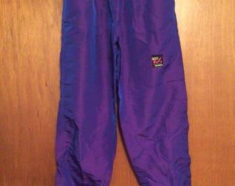 Vintage Surf Style Purple Iridescent Nylon Jogger Pants Large