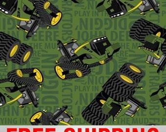 "Fleece Fabric Tractor John Deere Anti Pill 60"" Wide Free Shipping Style EE 54786"