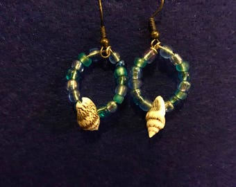 The Sea and the Shell Beaded Hoop Earrings