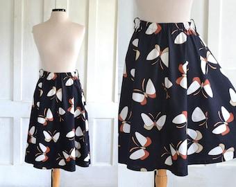 80s Moth Butterfly Print Skirt 70s Full A-line Cotton Skirt