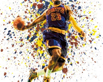 Watercolor Lebron James Cavaliers Splatter Art Print Matte Print Poster