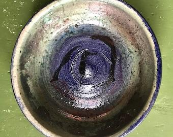Blue and Black Raku Bowl