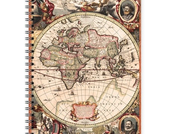 Vintage Notebook A5 - Old World Map