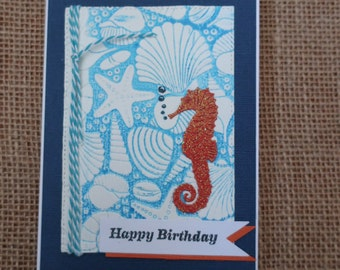 Handmade Card, Happy Birthday, Sea Shells, Sea Horse, Marine, Beach
