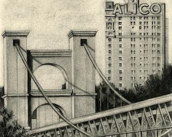 Waco Texas, Waco Suspension Bridge Drawing, Waco Themed Drawing, Waco Art Print, Baylor Art, Baylor Drawing, Waco Sketch, ALICO Building