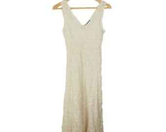 Midi Length Cream Lace Dress