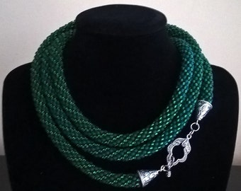 Dark Green long crochet beaded necklace, green rope