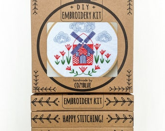 WINDMILL embroidery kit - embroidery hoop art, DIY gift kit, windmill and tulips, dutch inspired, gifts for travelers, windmill hoop
